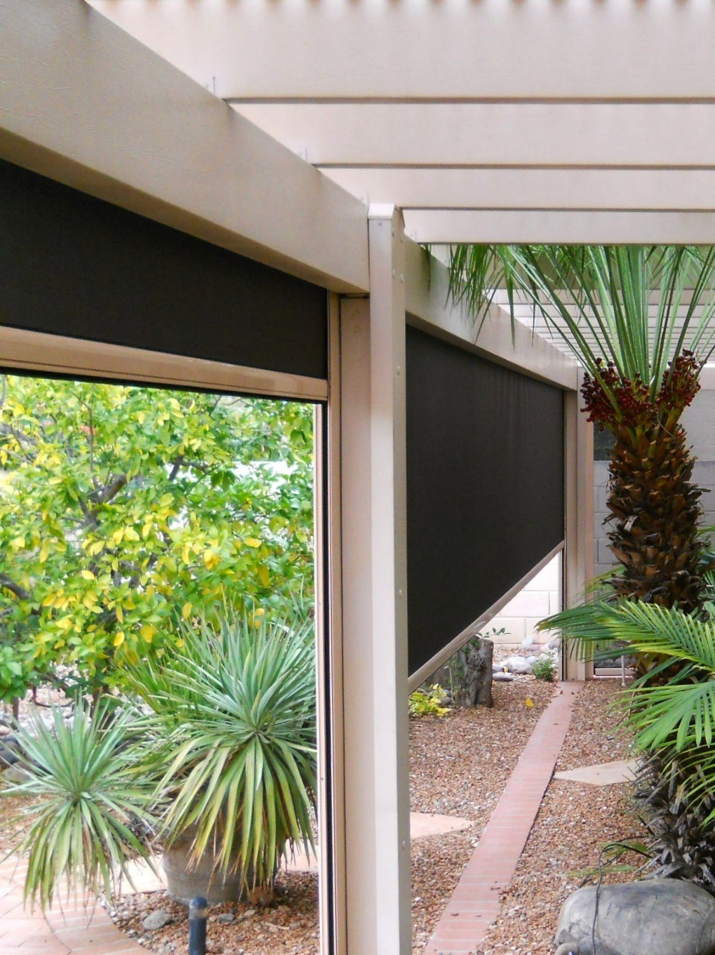 Fortress Blackout Outdoor Shades For Heavy Winds North Solar Screen