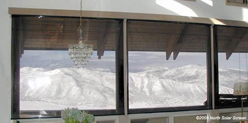 bronze indoor solar shade crystal view