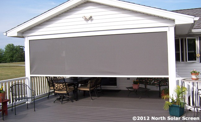 Large heavy duty outdoor solar shades north solar screen for Exterior no chain window shade
