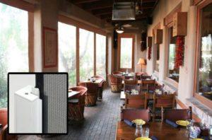 Clear vinyl outdoor zipper shade system for restaurant