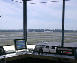 film shades in an airport control tower