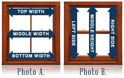Height and width for measuring inside mount window shades