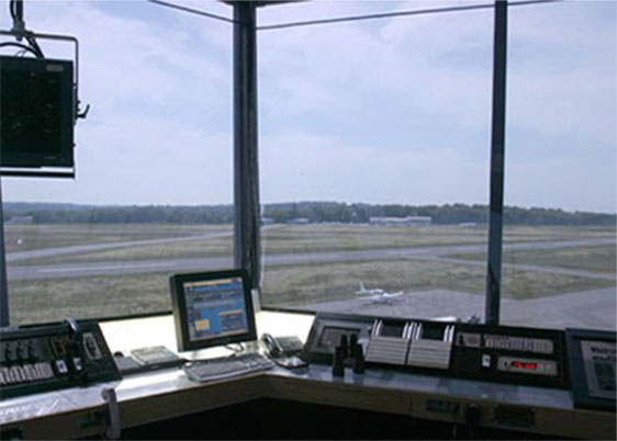 view out from air traffic control tower from transparent film shades