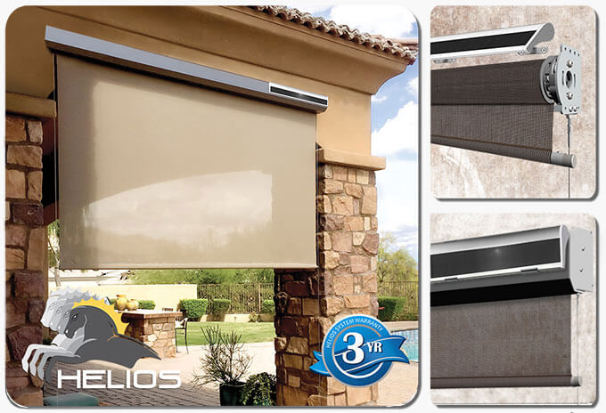 Helios solar powered battery charging station for cable shades